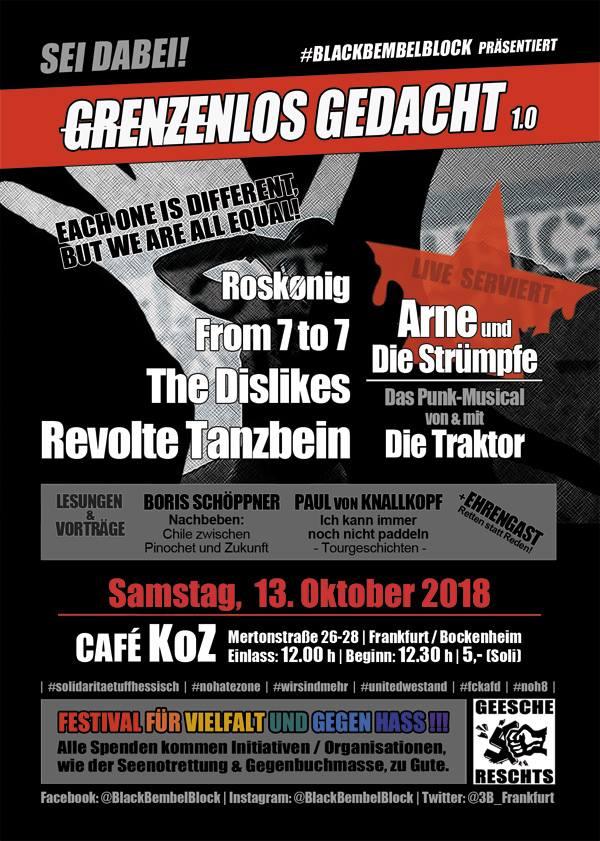 Grenzenlos gedacht 1.0, blackbembelblock, Samstag, 13. Oktober 2018, Café KoZ, Frankfurt, From 7 to 7, The Dislikes, Revolte Tanzbein, Roskonig
